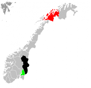 Et svart Hedmark, grønt Akershus og rødt Finnmark.
