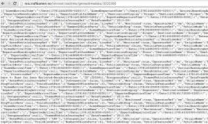 Oversiktlig, men maskinlesbar JSON strøm. Alle data vi trenger