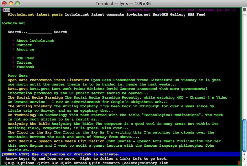 The Lynx Web browser displaying lovholm.net