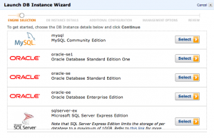 When you create a new DB instance you can easily choose type. If you use Oracle you can bring your own licence or rent licence by a hour-licence.