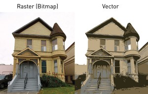 Et rasterbilde av et hus forsøkt vektorisert, uten hell.